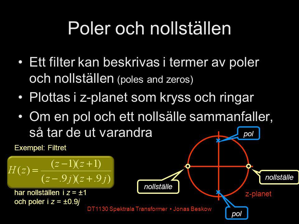 DT1130 Spektrala Transformer Jonas Beskow Poler och nollställen Ett filter kan beskrivas i termer av poler och nollställen (poles and zeros) Plottas i