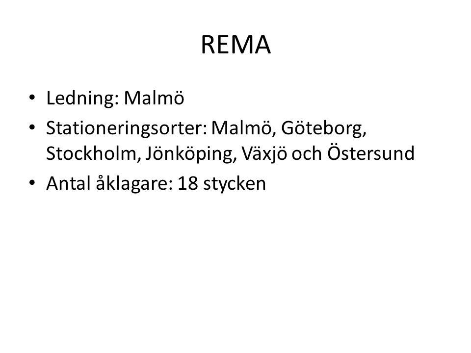 REMA Ledning: Malmö Stationeringsorter: Malmö, Göteborg, Stockholm, Jönköping, Växjö och Östersund Antal åklagare: 18 stycken