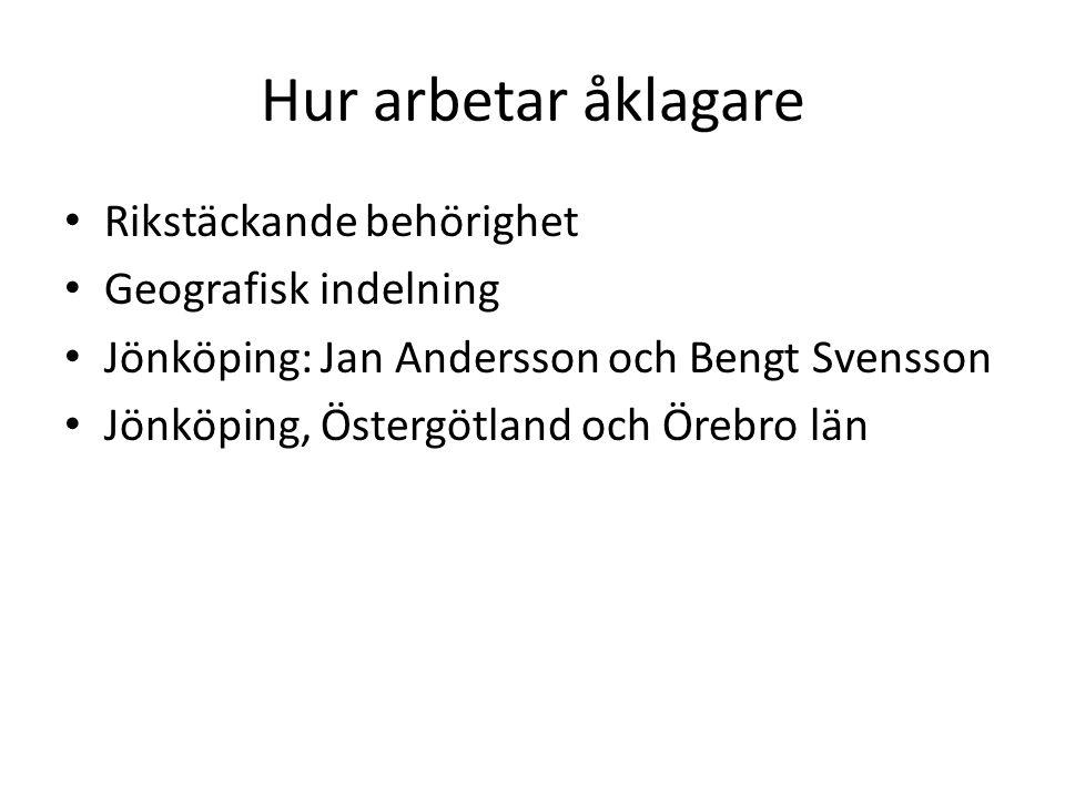 Hur arbetar åklagare Rikstäckande behörighet Geografisk indelning Jönköping: Jan Andersson och Bengt Svensson Jönköping, Östergötland och Örebro län