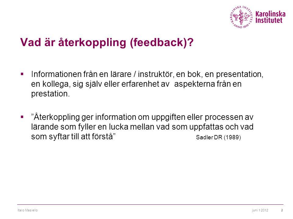 Vad är återkoppling (feedback)?  Informationen från en lärare / instruktör, en bok, en presentation, en kollega, sig själv eller erfarenhet av aspekt
