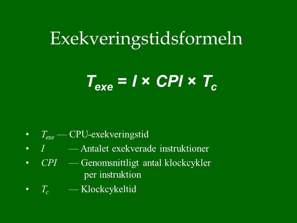 T exe — CPU-exekveringstid I — Antalet exekverade instruktioner CPI — Genomsnittligt antal klockcykler per instruktion T c — Klockcykeltid T exe = I × CPI × T c Exekveringstidsformeln