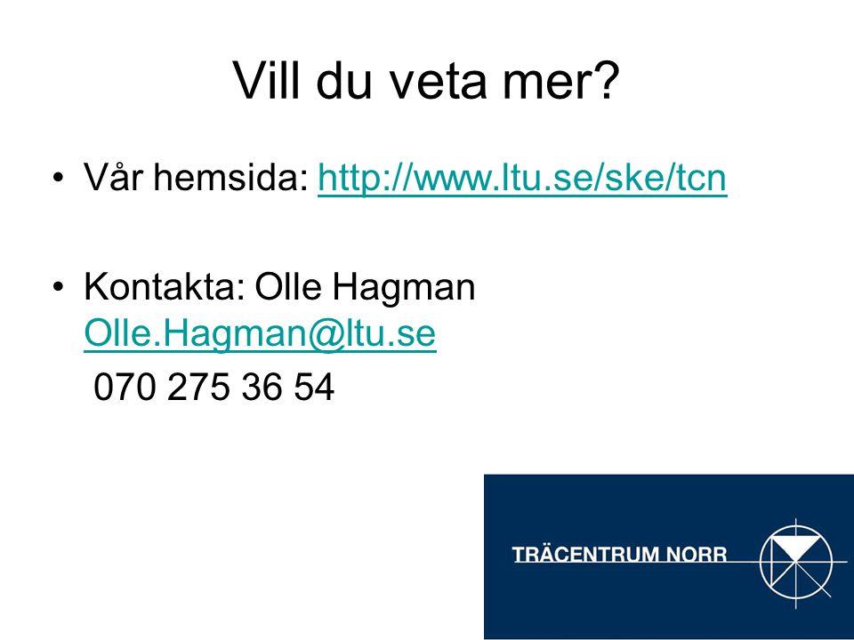Vill du veta mer? Vår hemsida: http://www.ltu.se/ske/tcnhttp://www.ltu.se/ske/tcn Kontakta: Olle Hagman Olle.Hagman@ltu.se Olle.Hagman@ltu.se 070 275
