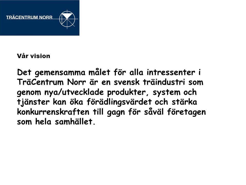 Vår vision Det gemensamma målet för alla intressenter i TräCentrum Norr är en svensk träindustri som genom nya/utvecklade produkter, system och tjänst