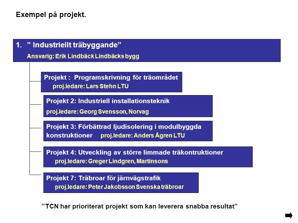 Exempel på projekt. Projekt 7: Träbroar för järnvägstrafik proj.ledare: Peter Jakobsson Svenska träbroar Projekt 2: Industriell installationsteknik pr