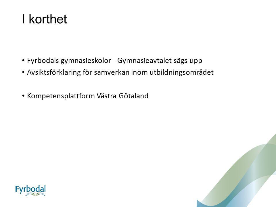 I korthet Fyrbodals gymnasieskolor - Gymnasieavtalet sägs upp Avsiktsförklaring för samverkan inom utbildningsområdet Kompetensplattform Västra Götaland