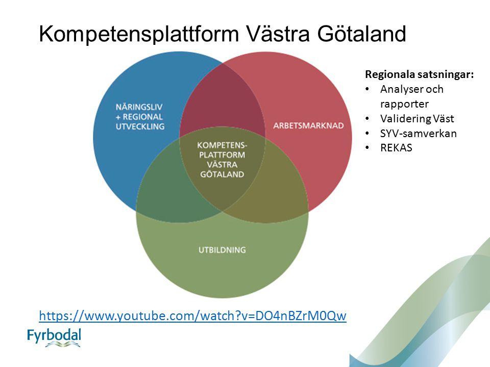 Kompetensplattform Västra Götaland https://www.youtube.com/watch v=DO4nBZrM0Qw Regionala satsningar: Analyser och rapporter Validering Väst SYV-samverkan REKAS