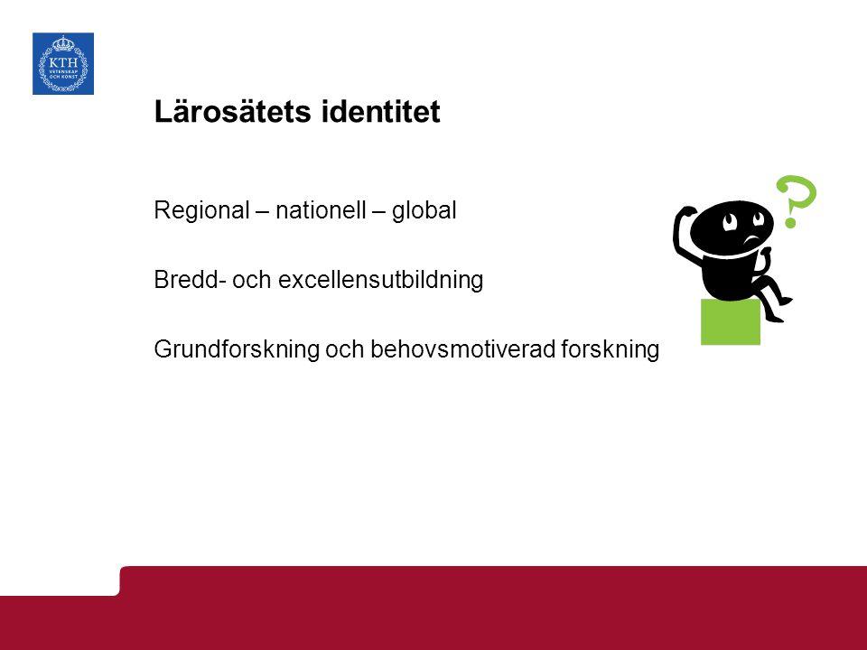 Lärosätets identitet Regional – nationell – global Bredd- och excellensutbildning Grundforskning och behovsmotiverad forskning