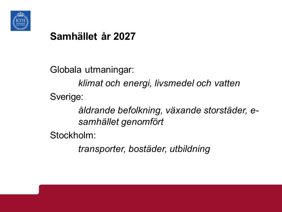 Samhället år 2027 Globala utmaningar: klimat och energi, livsmedel och vatten Sverige: åldrande befolkning, växande storstäder, e- samhället genomfört