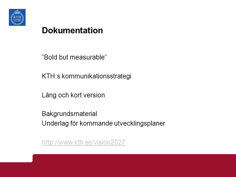 """Dokumentation """"Bold but measurable"""" KTH:s kommunikationsstrategi Lång och kort version Bakgrundsmaterial Underlag för kommande utvecklingsplaner http:"""