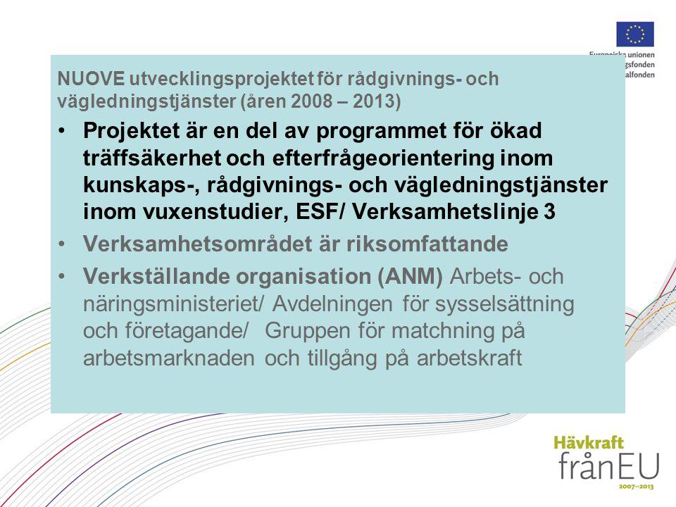 NUOVE utvecklingsprojektet för rådgivnings- och vägledningstjänster (åren 2008 – 2013) Projektet är en del av programmet för ökad träffsäkerhet och efterfrågeorientering inom kunskaps-, rådgivnings- och vägledningstjänster inom vuxenstudier, ESF/ Verksamhetslinje 3 Verksamhetsområdet är riksomfattande Verkställande organisation (ANM) Arbets- och näringsministeriet/ Avdelningen för sysselsättning och företagande/ Gruppen för matchning på arbetsmarknaden och tillgång på arbetskraft