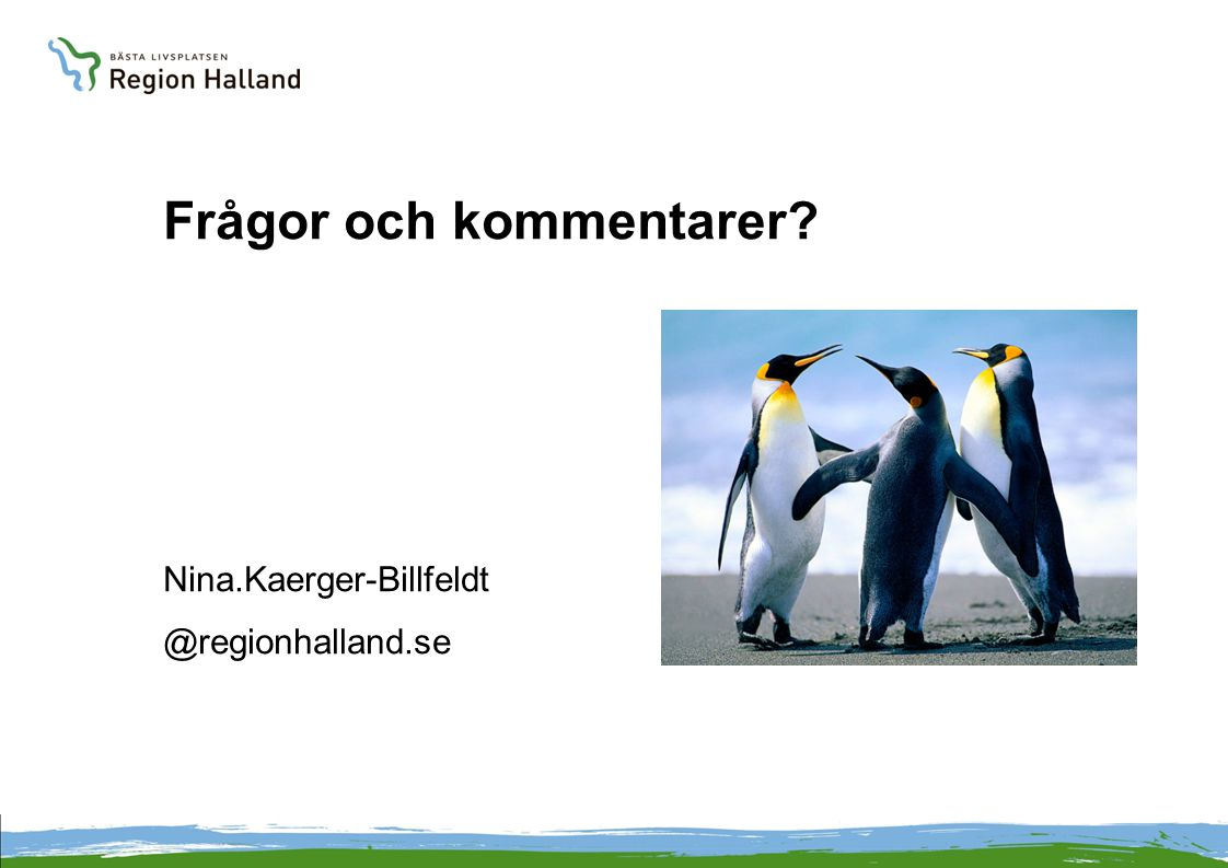 Frågor och kommentarer? Nina.Kaerger-Billfeldt @regionhalland.se