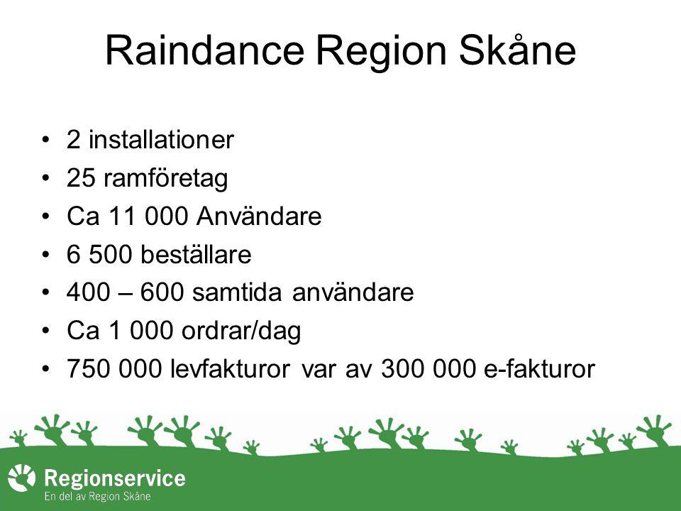 Raindance Region Skåne 2 installationer 25 ramföretag Ca 11 000 Användare 6 500 beställare 400 – 600 samtida användare Ca 1 000 ordrar/dag 750 000 levfakturor var av 300 000 e-fakturor