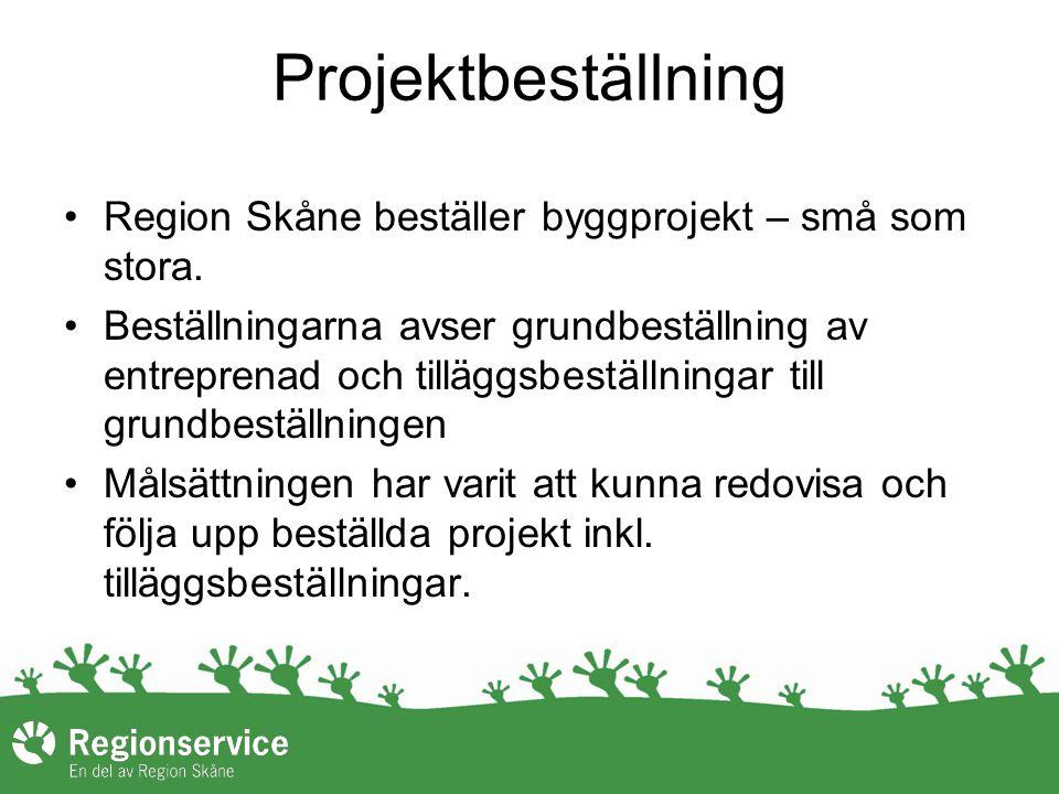 Projektbeställning Region Skåne beställer byggprojekt – små som stora. Beställningarna avser grundbeställning av entreprenad och tilläggsbeställningar