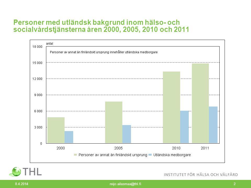 8.4.2014 reijo.ailasmaa@thl.fi3 Personer med utländsk bakgrund inom hälso- och socialvårdstjänsterna åren 2000, 2005, 2010 och 2011, %