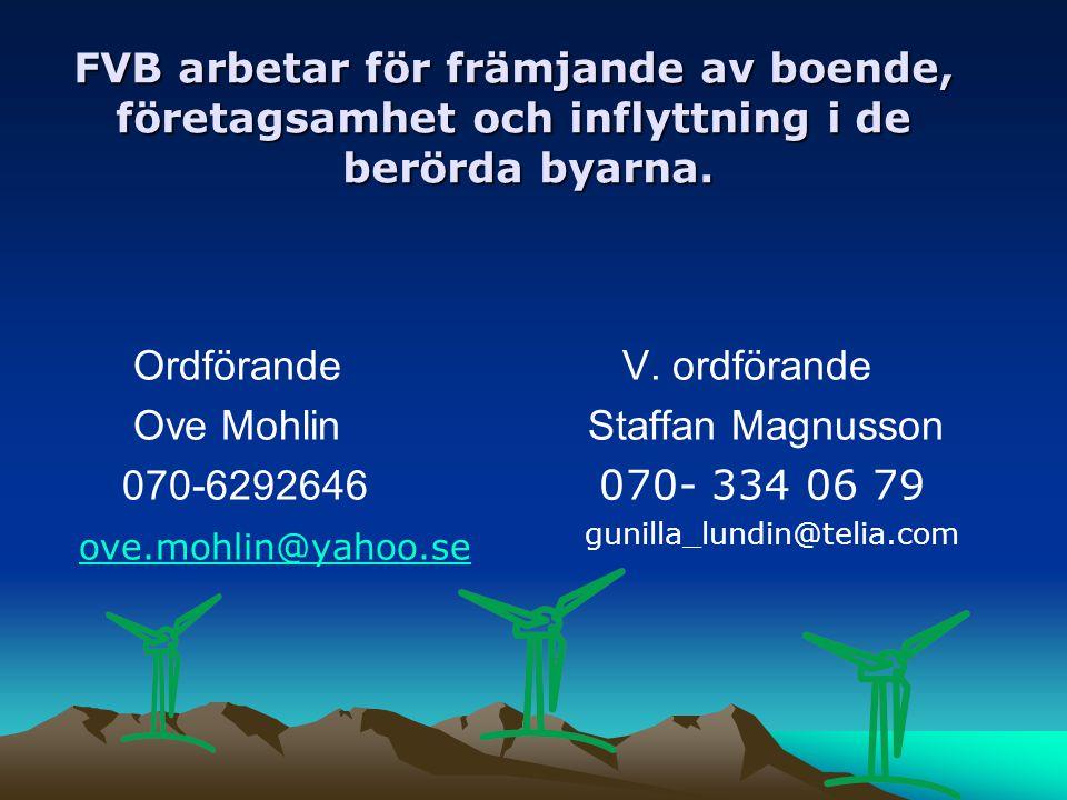 FVB arbetar för främjande av boende, företagsamhet och inflyttning i de berörda byarna. Ordförande Ove Mohlin 070-6292646 ove.mohlin@yahoo.se V. ordfö