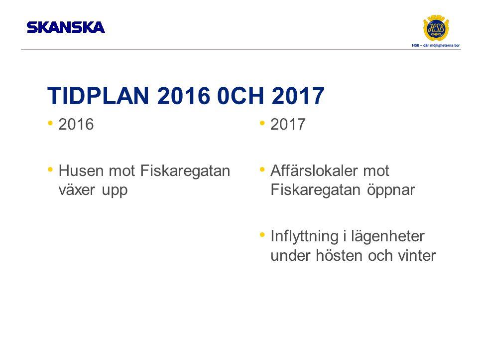 TIDPLAN 2016 0CH 2017 2016 Husen mot Fiskaregatan växer upp 2017 Affärslokaler mot Fiskaregatan öppnar Inflyttning i lägenheter under hösten och vinter