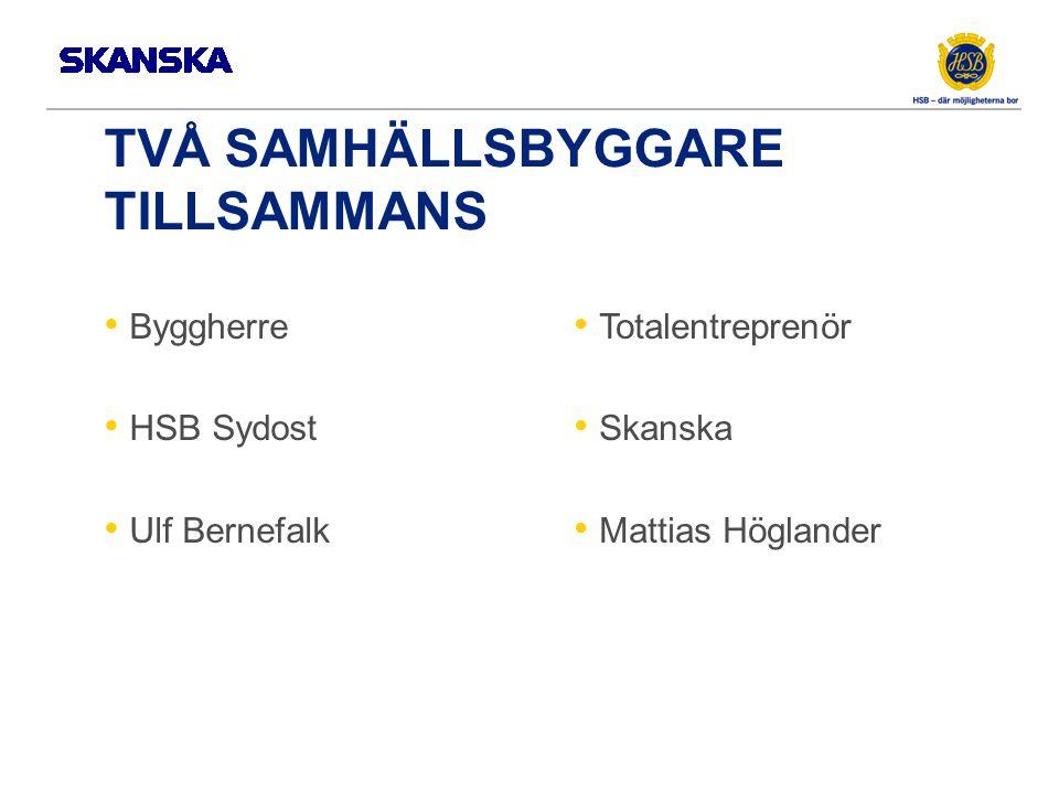 TVÅ SAMHÄLLSBYGGARE TILLSAMMANS Byggherre HSB Sydost Ulf Bernefalk Totalentreprenör Skanska Mattias Höglander