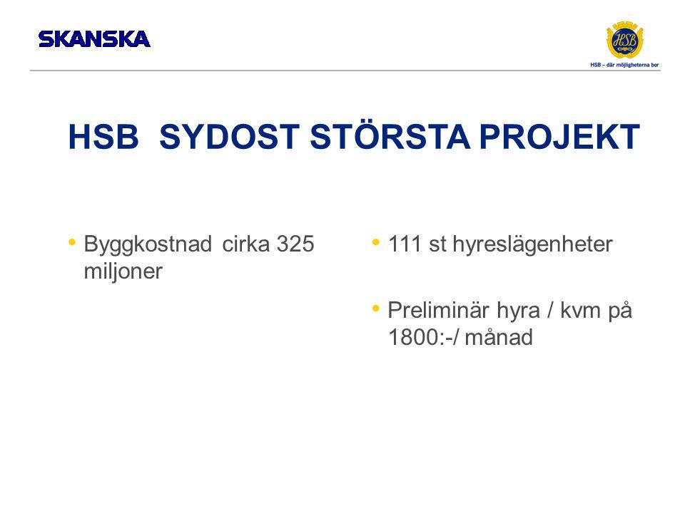 HSB SYDOST STÖRSTA PROJEKT Byggkostnad cirka 325 miljoner 111 st hyreslägenheter Preliminär hyra / kvm på 1800:-/ månad