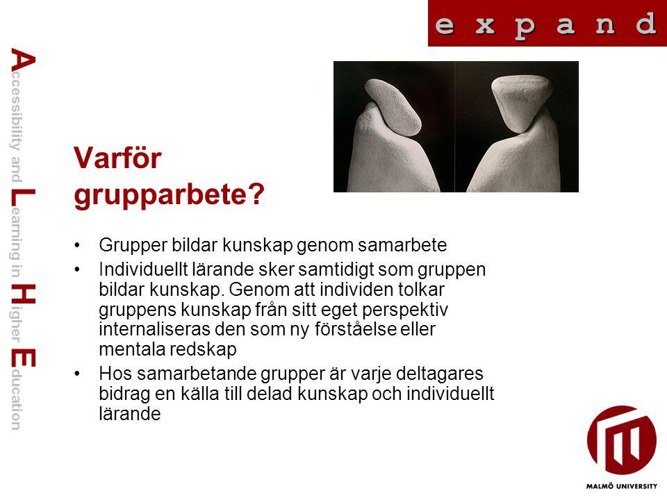 A ccessibility and L earning in H igher E ducation e x p a n d Varför grupparbete? Grupper bildar kunskap genom samarbete Individuellt lärande sker sa