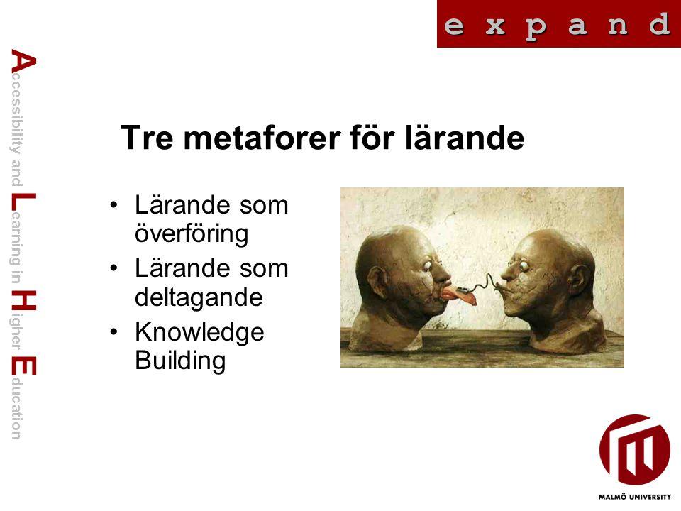 A ccessibility and L earning in H igher E ducation e x p a n d Tre metaforer för lärande Lärande som överföring Lärande som deltagande Knowledge Building