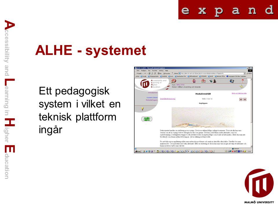 A ccessibility and L earning in H igher E ducation e x p a n d ALHE - systemet Ett pedagogisk system i vilket en teknisk plattform ingår