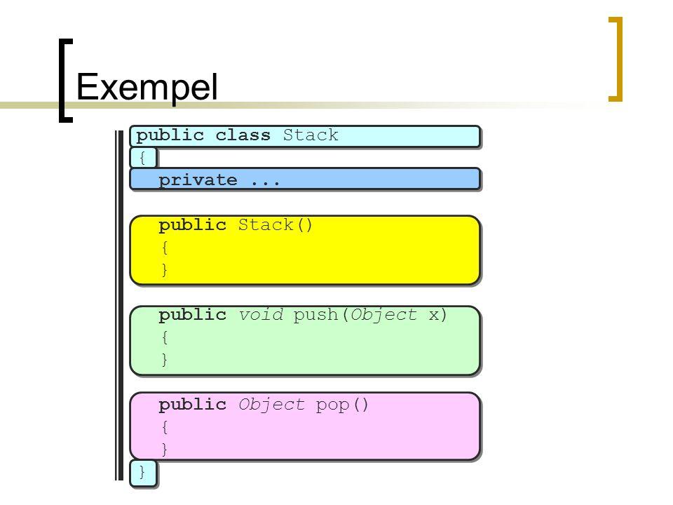 Exempel public class Stack { private... public Stack() { } public void push(Object x) { } public Object pop() { }