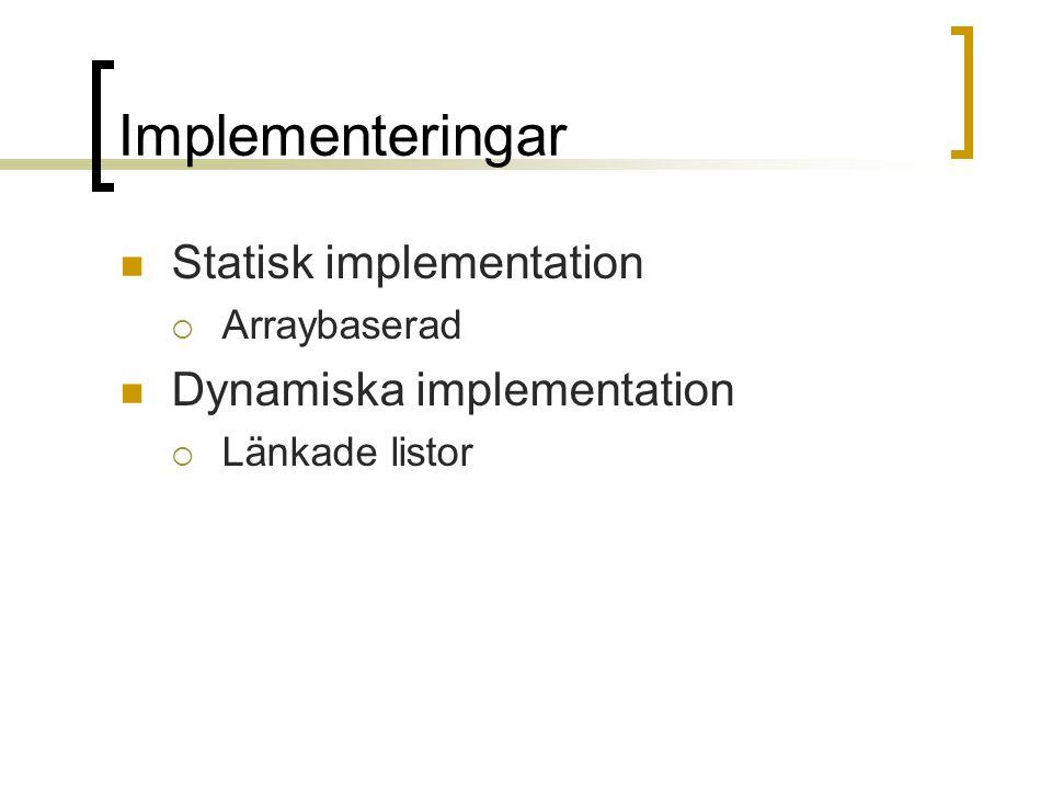 Implementeringar Statisk implementation  Arraybaserad Dynamiska implementation  Länkade listor