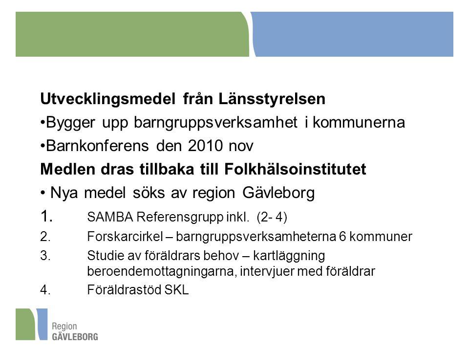 Utvecklingsmedel från Länsstyrelsen Bygger upp barngruppsverksamhet i kommunerna Barnkonferens den 2010 nov Medlen dras tillbaka till Folkhälsoinstitutet Nya medel söks av region Gävleborg 1.