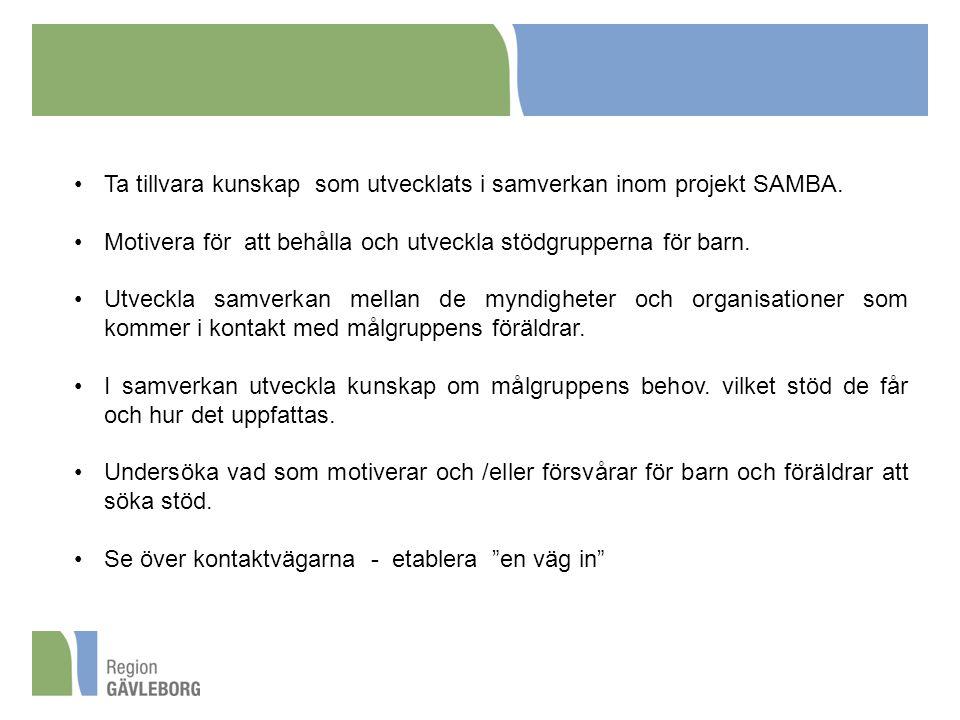 Ta tillvara kunskap som utvecklats i samverkan inom projekt SAMBA.