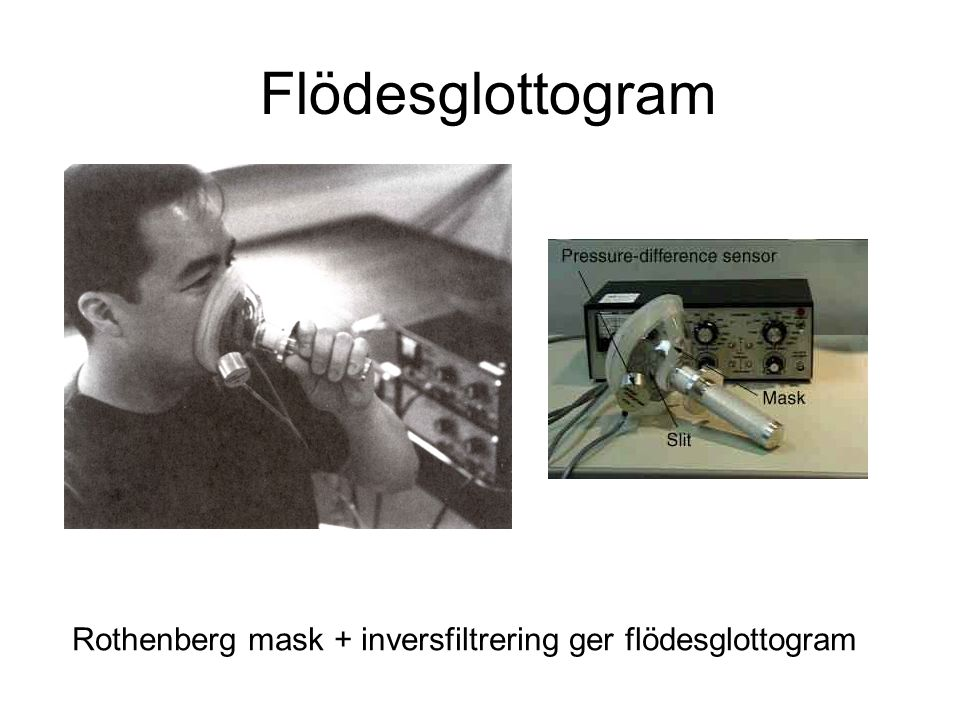 Flödesglottogram Rothenberg mask + inversfiltrering ger flödesglottogram