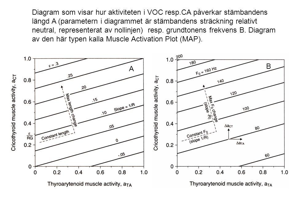 Diagram som visar hur aktiviteten i VOC resp.CA påverkar stämbandens längd A (parametern i diagrammet är stämbandens sträckning relativt neutral, repr
