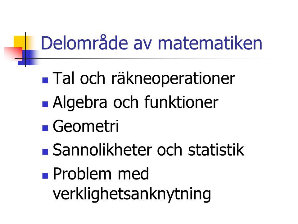 Delområde av matematiken Tal och räkneoperationer Algebra och funktioner Geometri Sannolikheter och statistik Problem med verklighetsanknytning