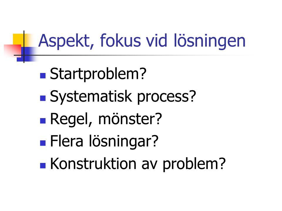 Aspekt, fokus vid lösningen Startproblem. Systematisk process.