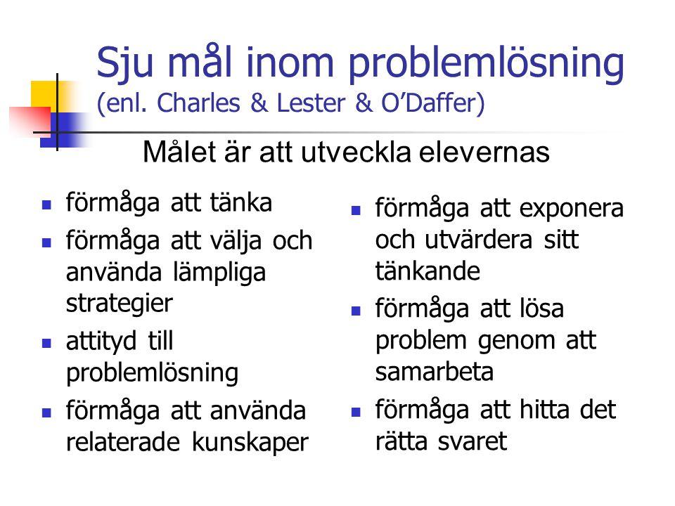 Sju mål inom problemlösning (enl.
