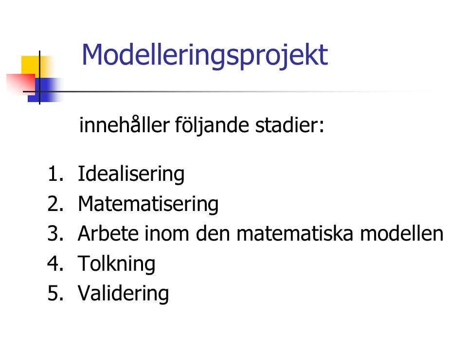 innehåller följande stadier: 1.Idealisering 2. Matematisering 3.