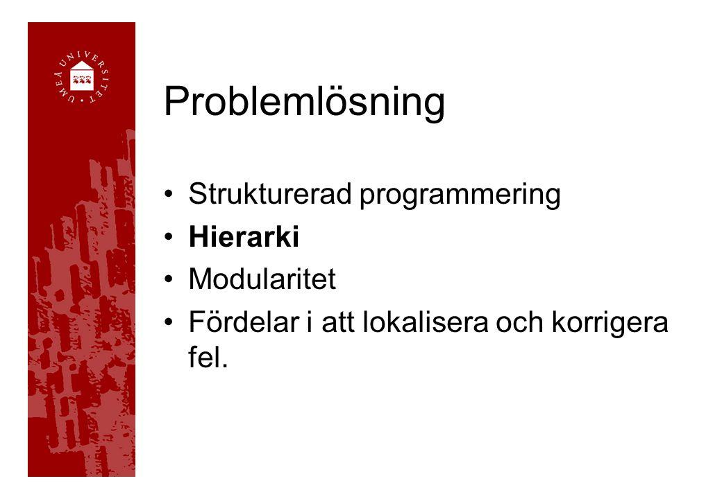 Problemlösning Strukturerad programmering Hierarki Modularitet Fördelar i att lokalisera och korrigera fel.