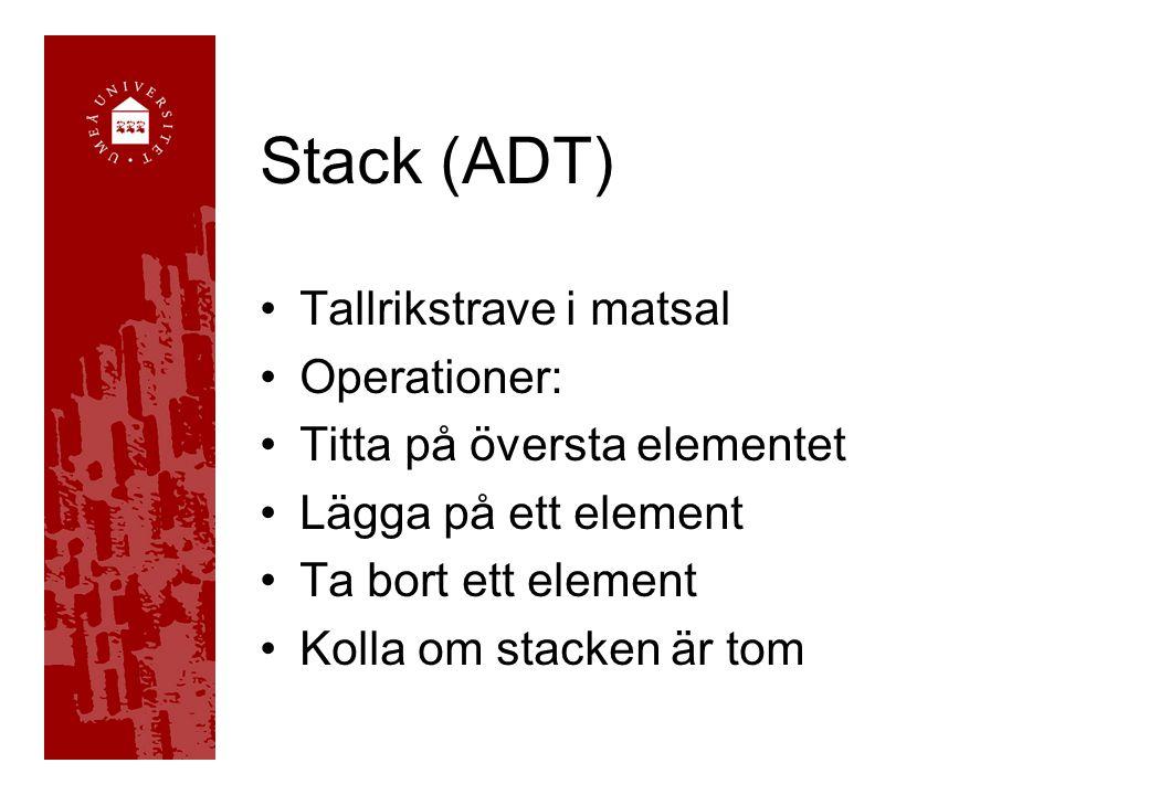 Stack (ADT) Tallrikstrave i matsal Operationer: Titta på översta elementet Lägga på ett element Ta bort ett element Kolla om stacken är tom