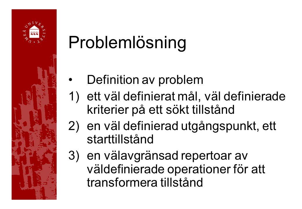 Problemlösning Definition av problem 1)ett väl definierat mål, väl definierade kriterier på ett sökt tillstånd 2)en väl definierad utgångspunkt, ett starttillstånd 3)en välavgränsad repertoar av väldefinierade operationer för att transformera tillstånd