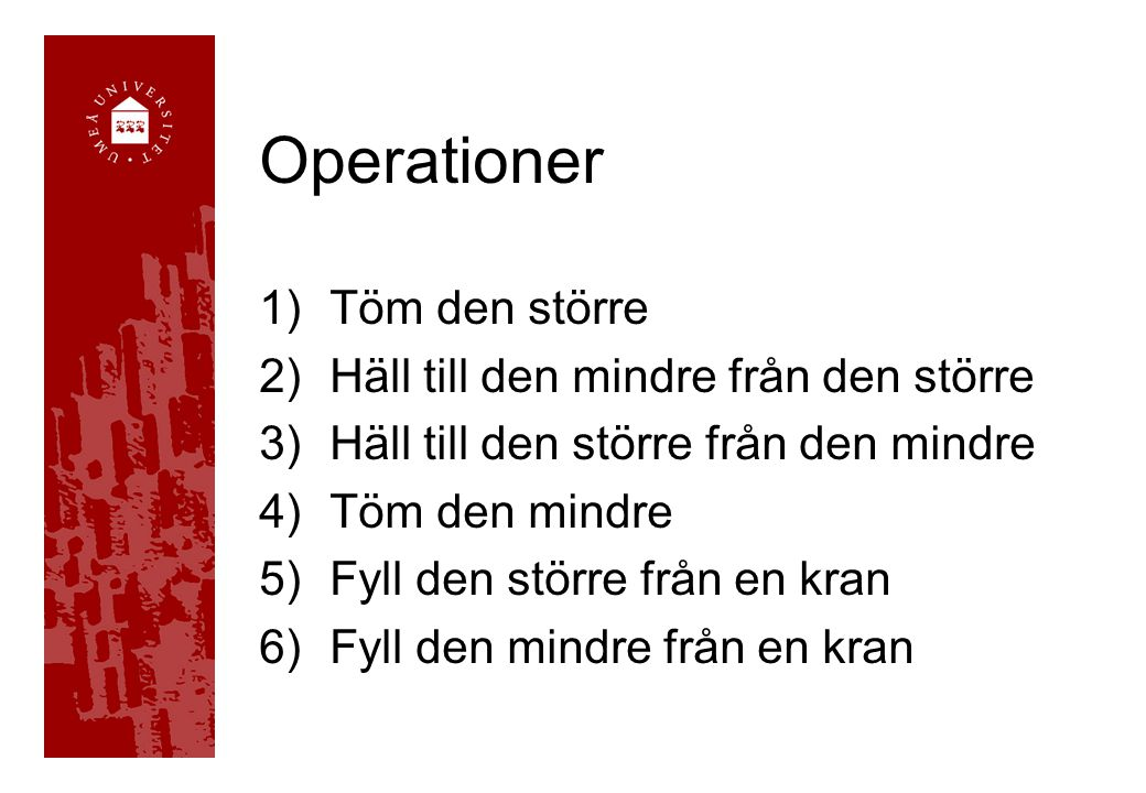 Operationer 1)Töm den större 2)Häll till den mindre från den större 3)Häll till den större från den mindre 4)Töm den mindre 5)Fyll den större från en kran 6)Fyll den mindre från en kran