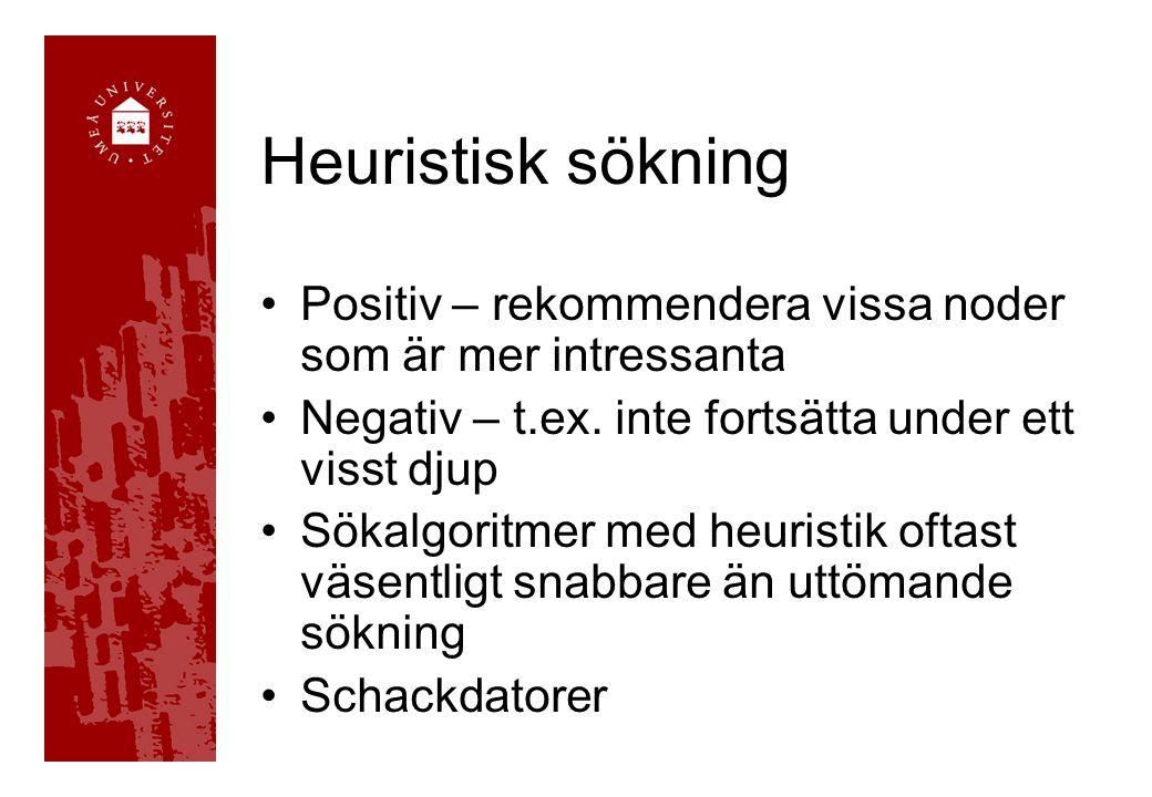 Heuristisk sökning Positiv – rekommendera vissa noder som är mer intressanta Negativ – t.ex. inte fortsätta under ett visst djup Sökalgoritmer med heu