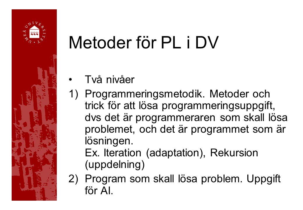 Metoder för PL i DV Två nivåer 1)Programmeringsmetodik. Metoder och trick för att lösa programmeringsuppgift, dvs det är programmeraren som skall lösa