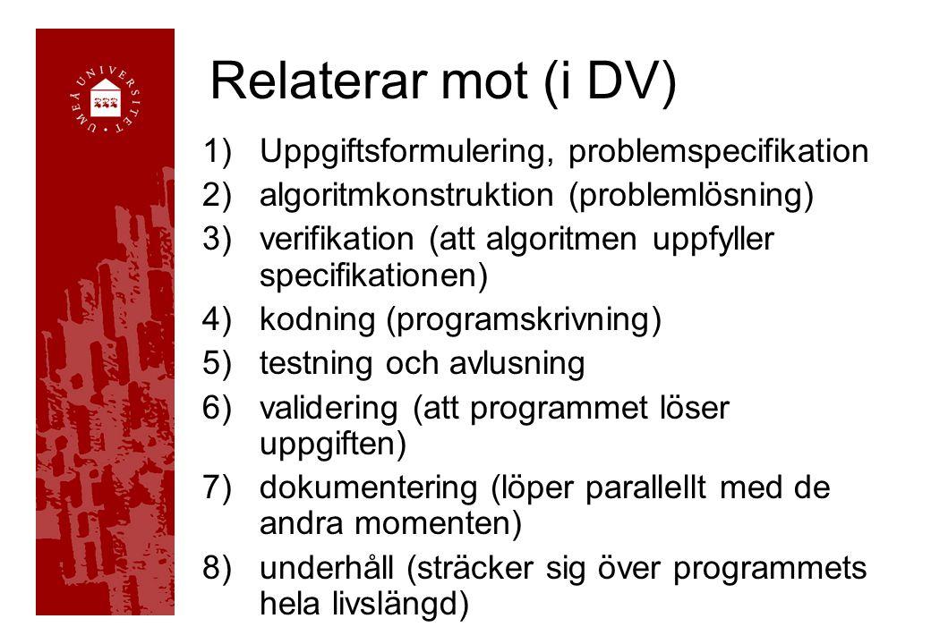 Relaterar mot (i DV) 1)Uppgiftsformulering, problemspecifikation 2)algoritmkonstruktion (problemlösning) 3)verifikation (att algoritmen uppfyller specifikationen) 4)kodning (programskrivning) 5)testning och avlusning 6)validering (att programmet löser uppgiften) 7)dokumentering (löper parallellt med de andra momenten) 8)underhåll (sträcker sig över programmets hela livslängd)