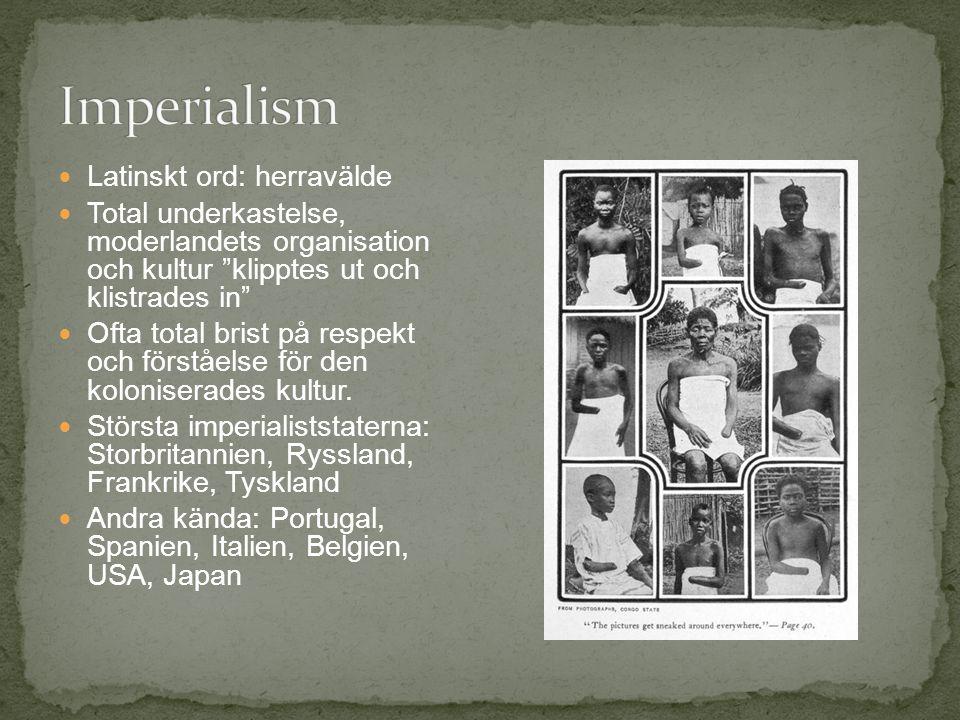 Latinskt ord: herravälde Total underkastelse, moderlandets organisation och kultur klipptes ut och klistrades in Ofta total brist på respekt och förståelse för den koloniserades kultur.