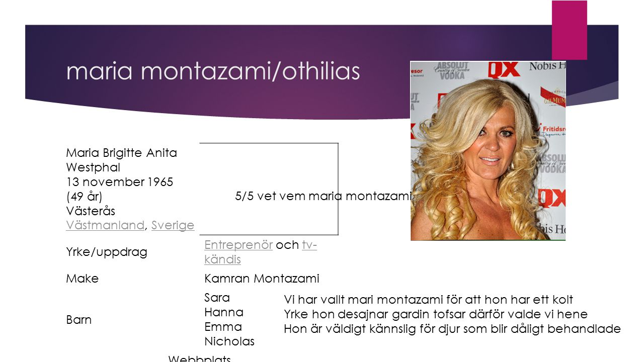 maria montazami/othilias Maria Brigitte Anita Westphal 13 november 1965 (49 år) Västerås Västmanland, Sverige VästmanlandSverige Yrke/uppdrag Entrepre