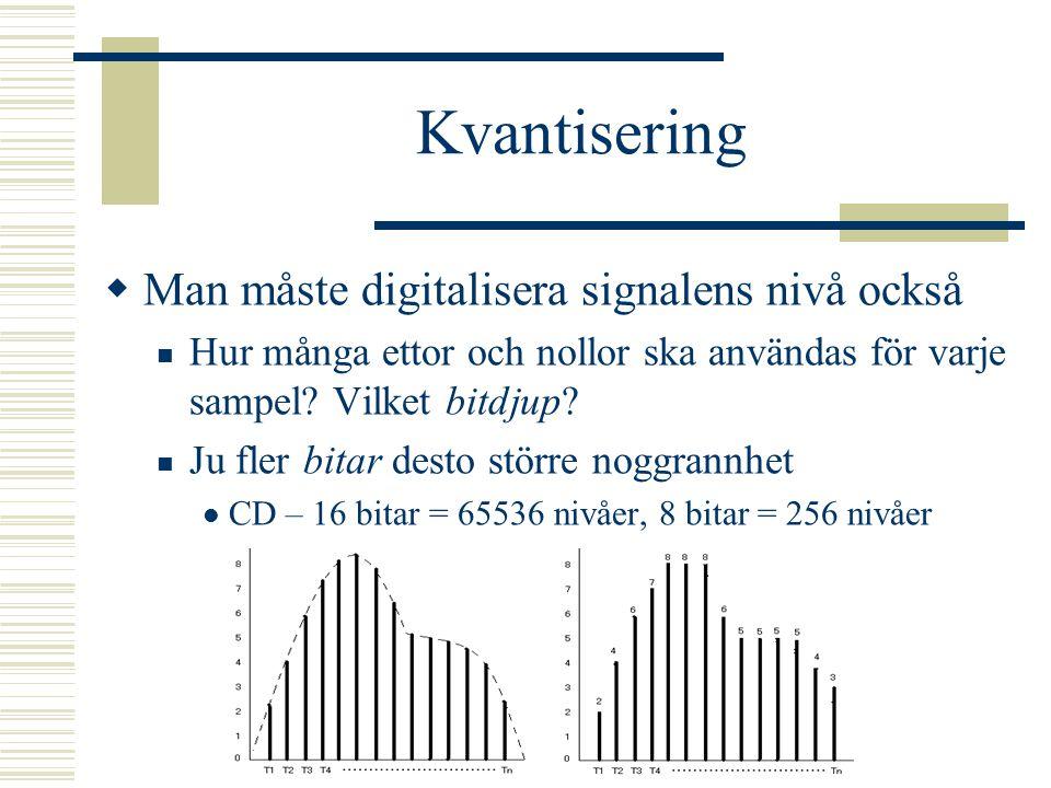 Sampling  Läs av signalen med ett visst tidsintervall CD-kvalitet 44100 Hz (44,1 kHz) samplerate Kan få med frekvenser upp till 22 kHz 22 kHz, 11 kHz