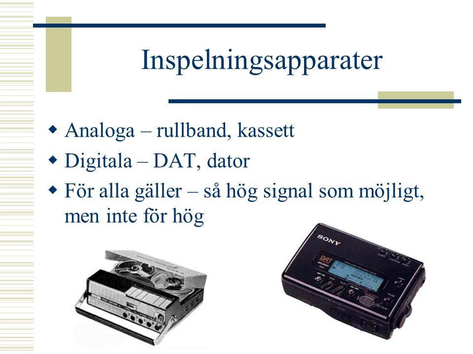 Inspelningsteknik  En mixer består av flera likartade ingångar Tonkontroller ökar/minskar bas och diskant Volym styr utsignalen för blandning med and