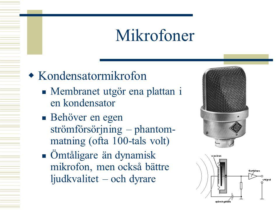 Mikrofoner  Ett membran som sätts i svängning av ljudvågorna  Dynamisk mikrofon Membranet påverkar en spole i ett magnetfält Elektrisk signal uppstå