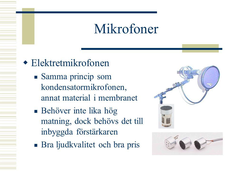 Mikrofoner  Kondensatormikrofon Membranet utgör ena plattan i en kondensator Behöver en egen strömförsörjning – phantom- matning (ofta 100-tals volt)