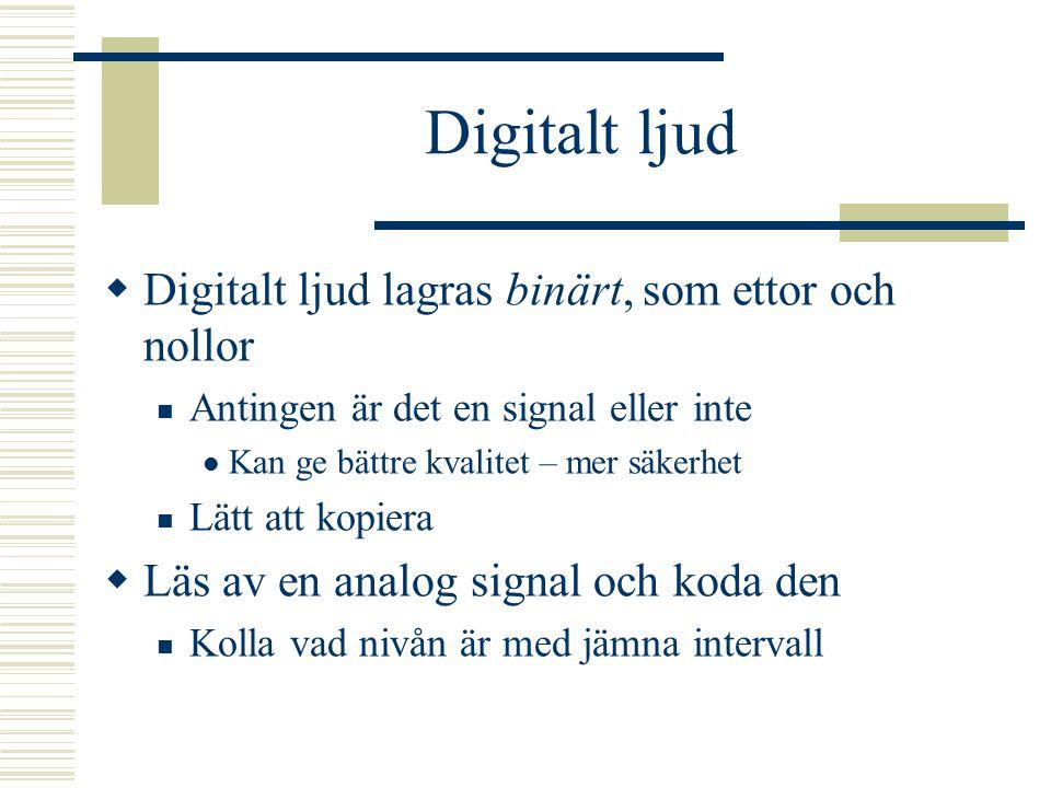 Digitalisering  En ljudsignal är analog Vi kan inte höra digitalt ljud Digitalt är bra för att lagra och bearbeta ljud! Kopiera utan förluster  A/D-