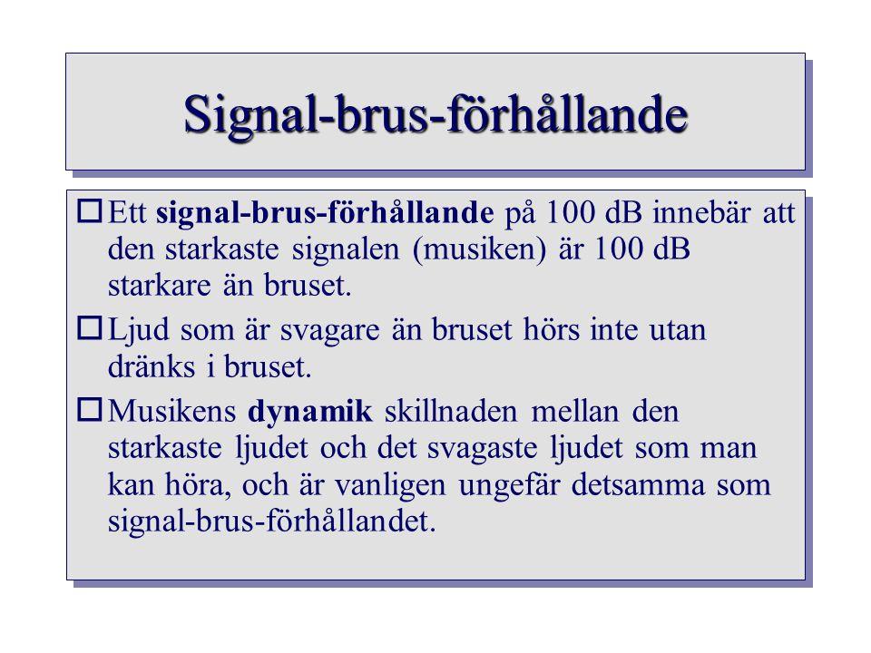 Signal-brus-förhållandeSignal-brus-förhållande oEtt signal-brus-förhållande på 100 dB innebär att den starkaste signalen (musiken) är 100 dB starkare